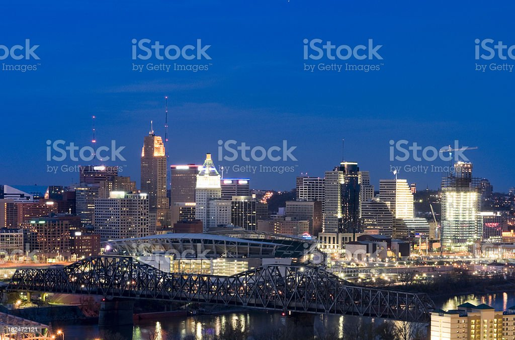 Cincinnati Skyline at Dusk royalty-free stock photo
