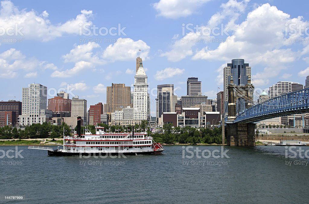 Cincinnati Skyline with Replica Steamboat in Ohio River. stock photo