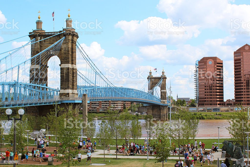 Cincinnati Suspension Bridge stock photo