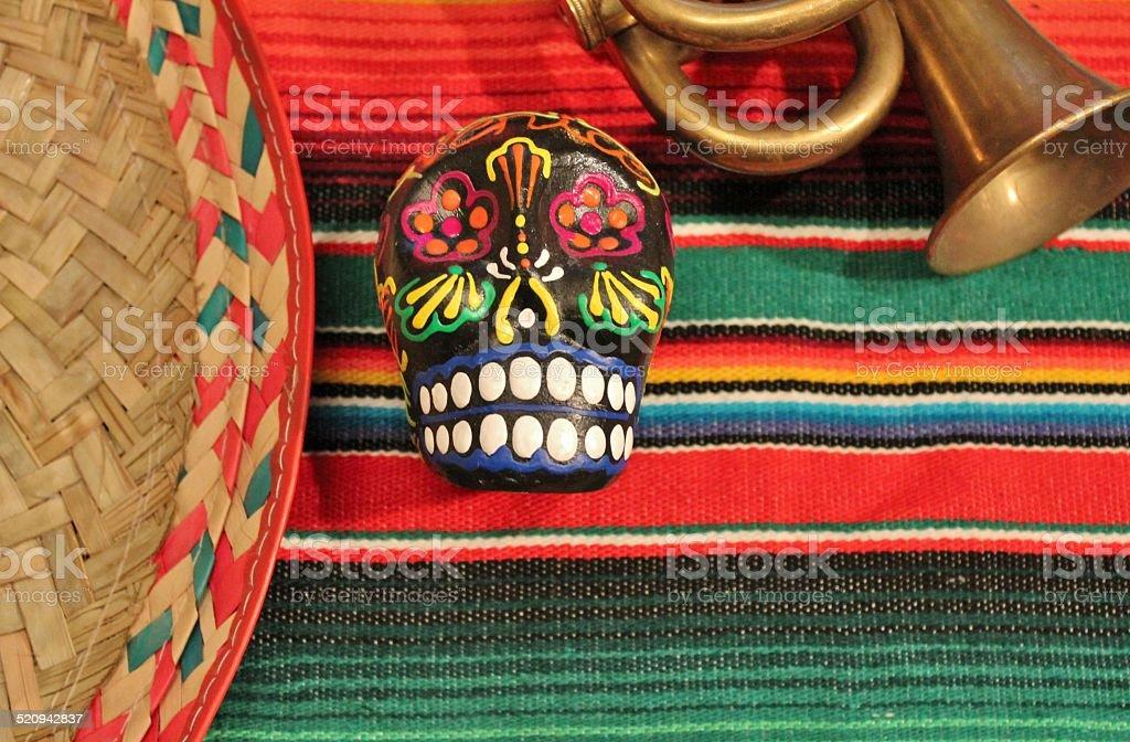 Cinco de Mayo fiesta candy skull D?a de Muertos background stock photo