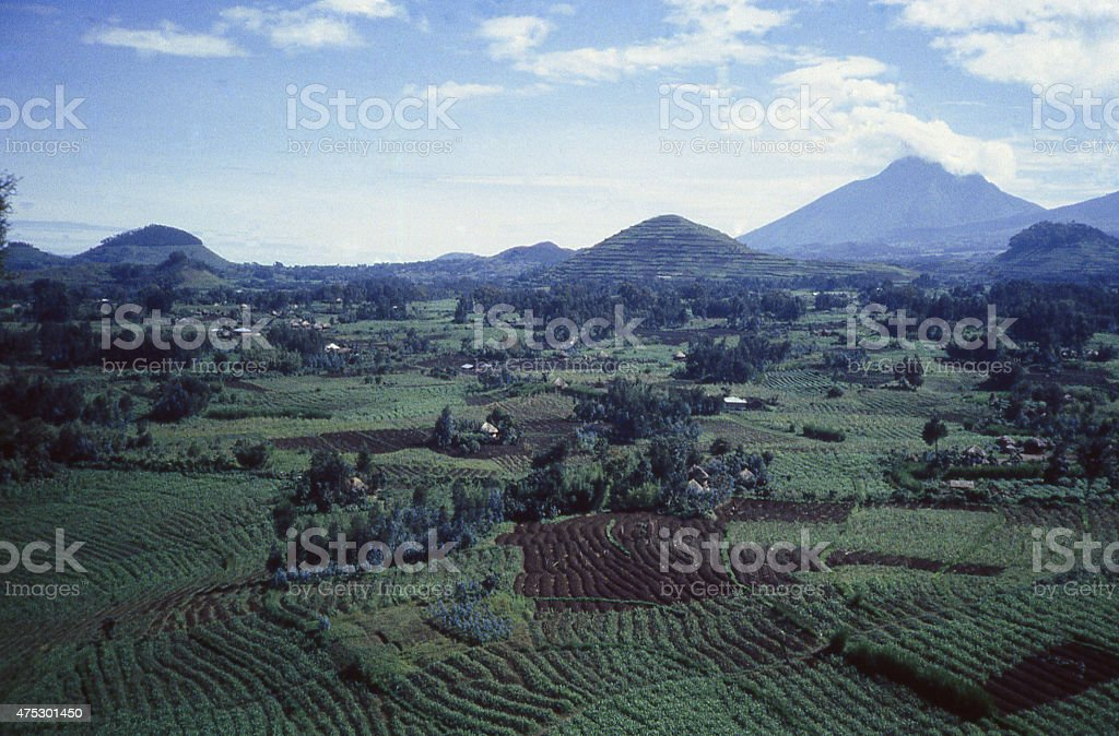 Cinder Cones Mikeno Volcano Virunga Mountains farmland Rwanda Central Africa stock photo