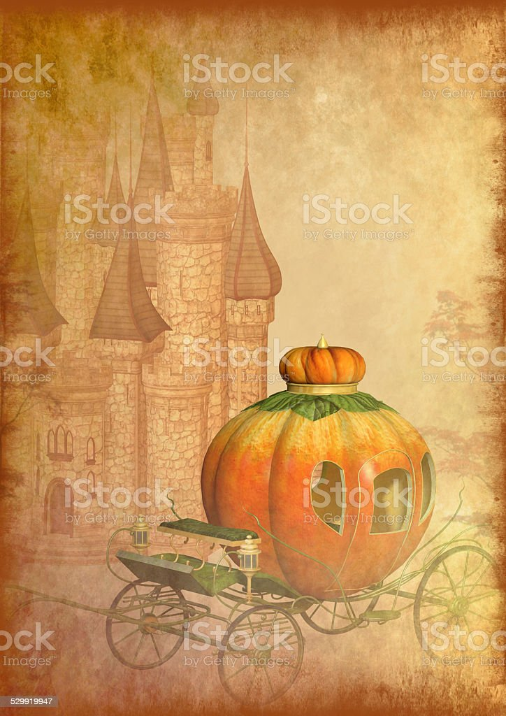 Cinderella carriage grunge background stock photo