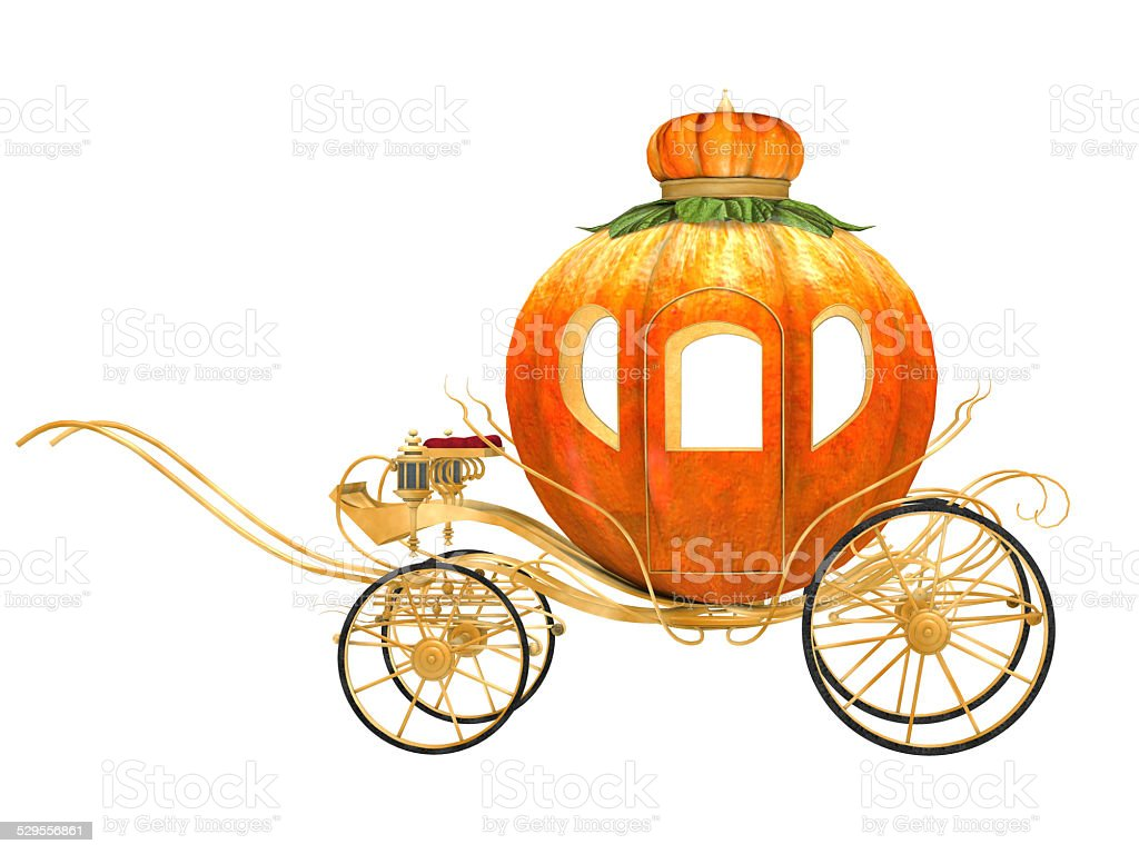 Cinderella fairy tale pumpkin carriage, isolated stock photo