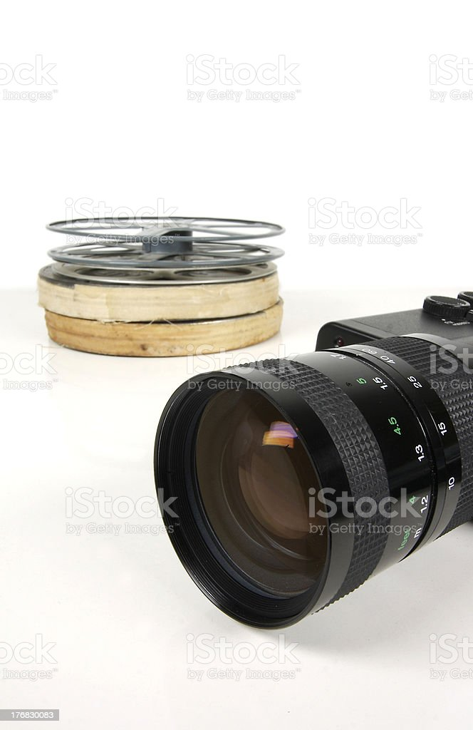Cinecamera and film reels royalty-free stock photo