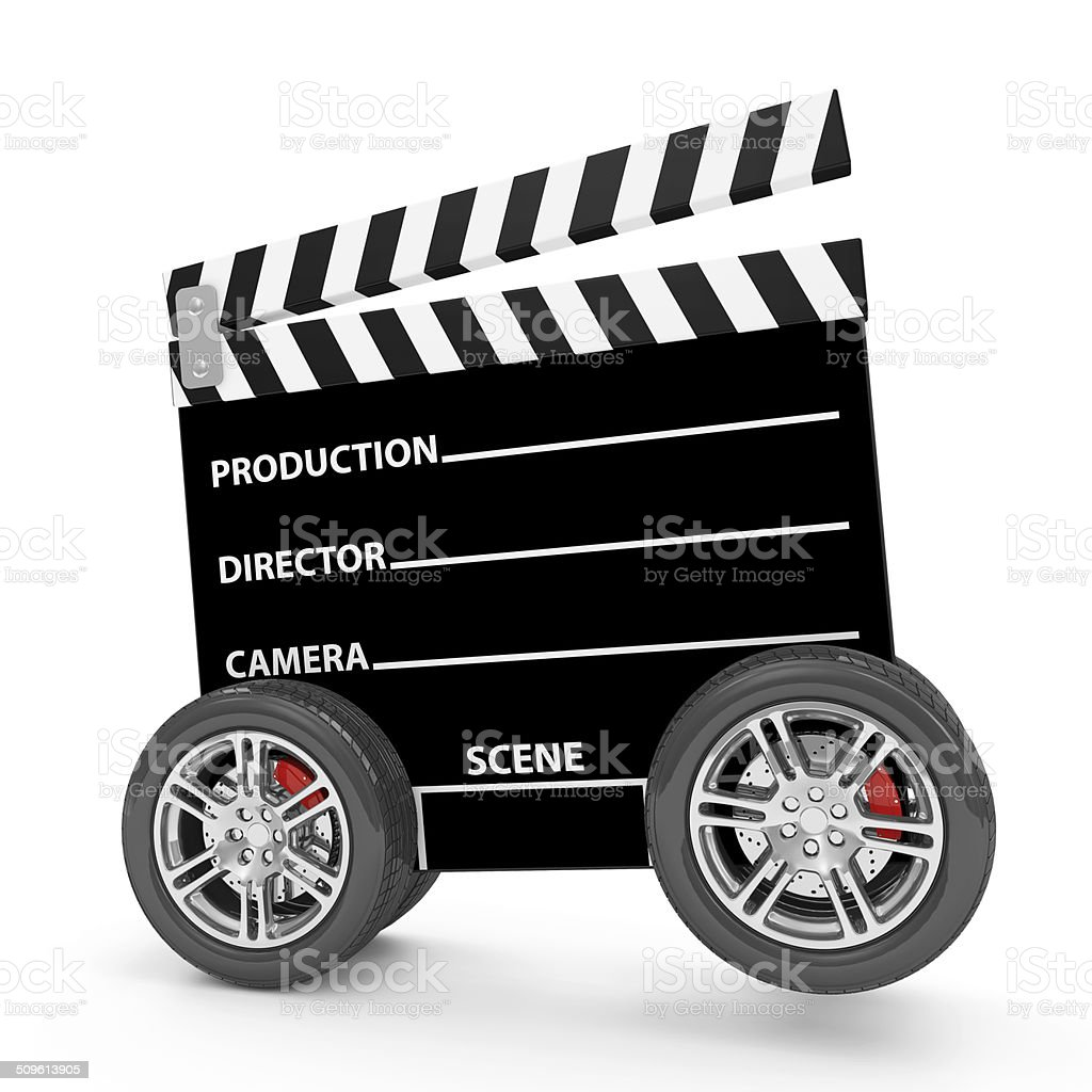 Cinema Clap on Wheels isolated on white background stock photo