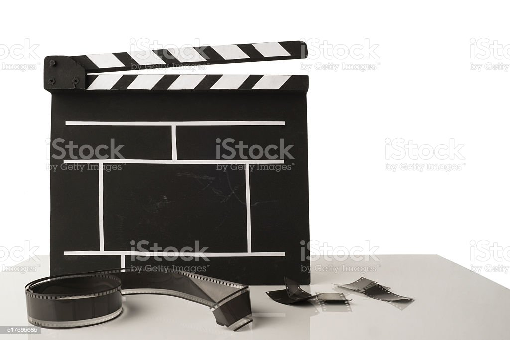 Cinema clapper stock photo