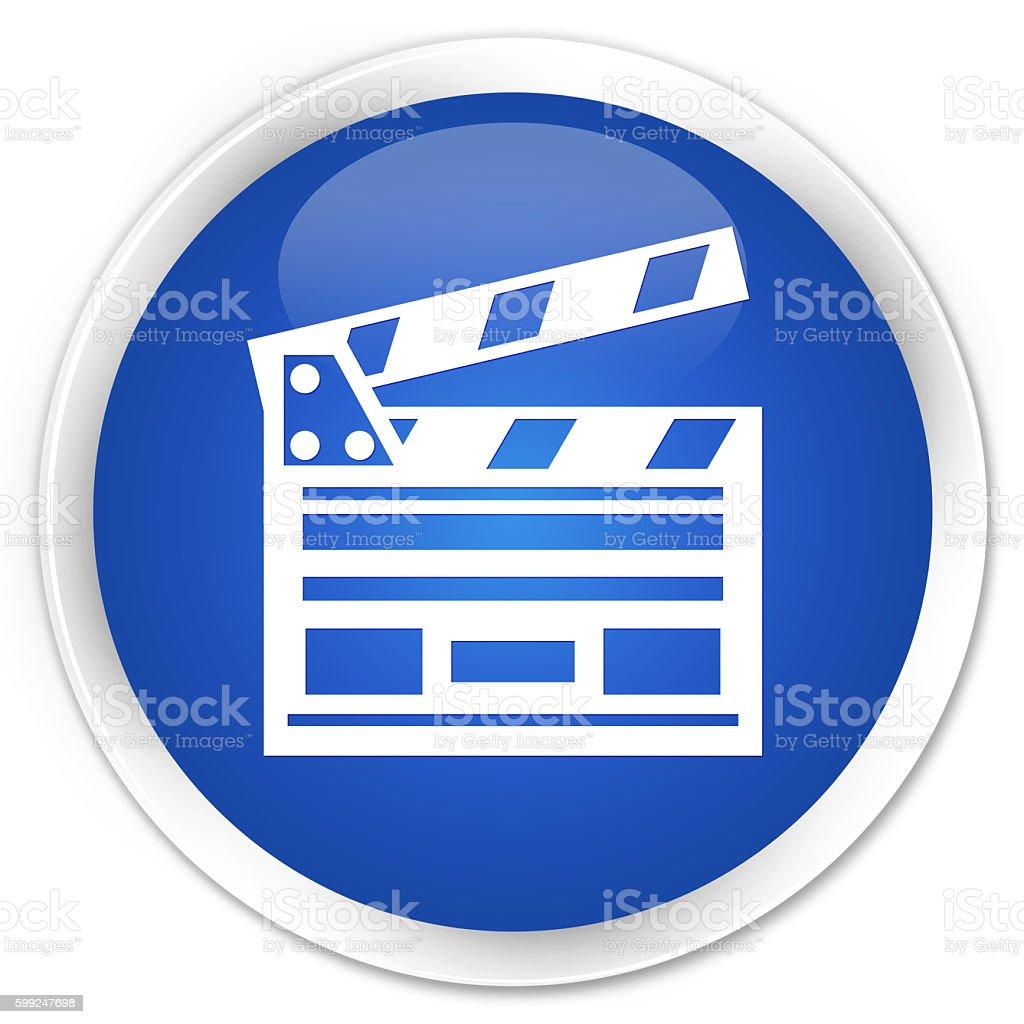 Cinema clip icon blue glossy round button stock photo