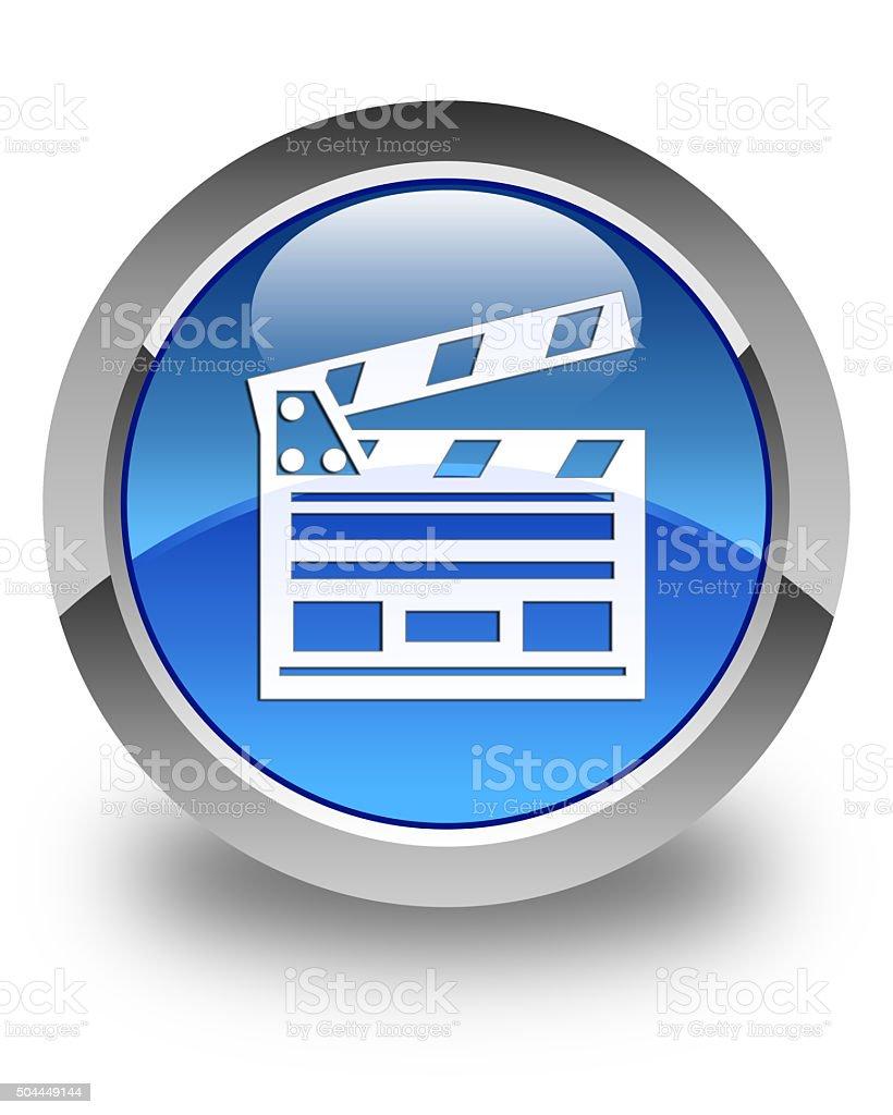 Cinema clip icon glossy blue round button stock photo