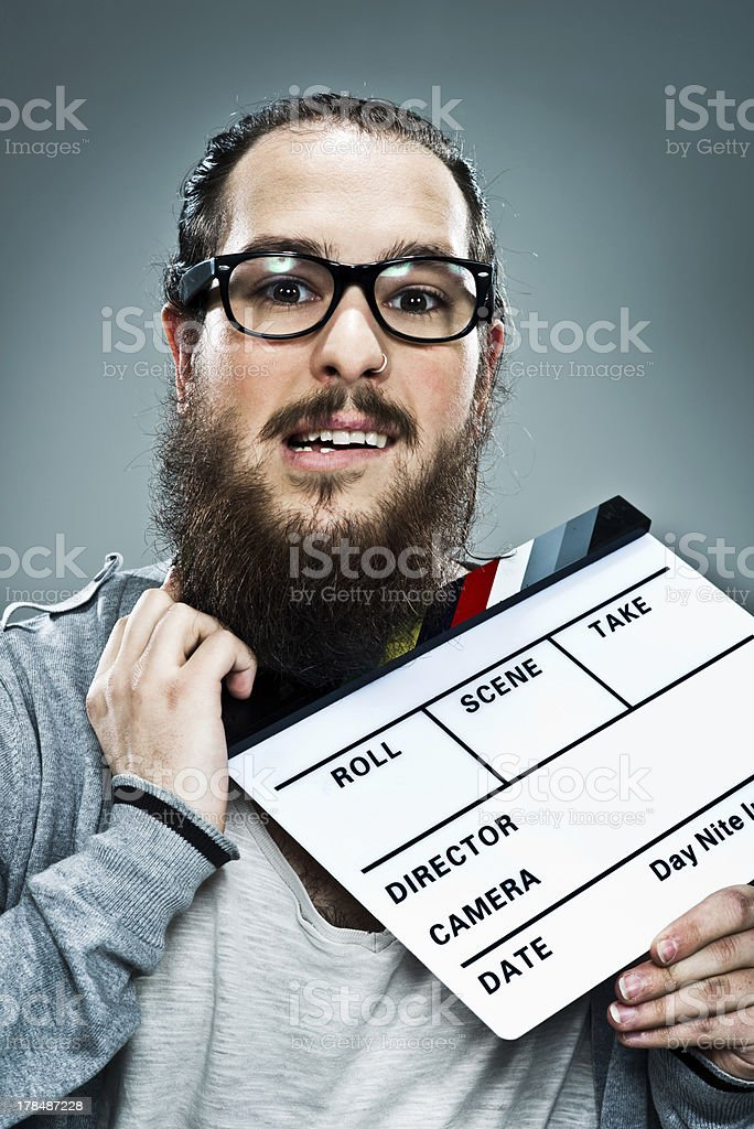 Cinema Director with a Slate in His Neck royalty-free stock photo