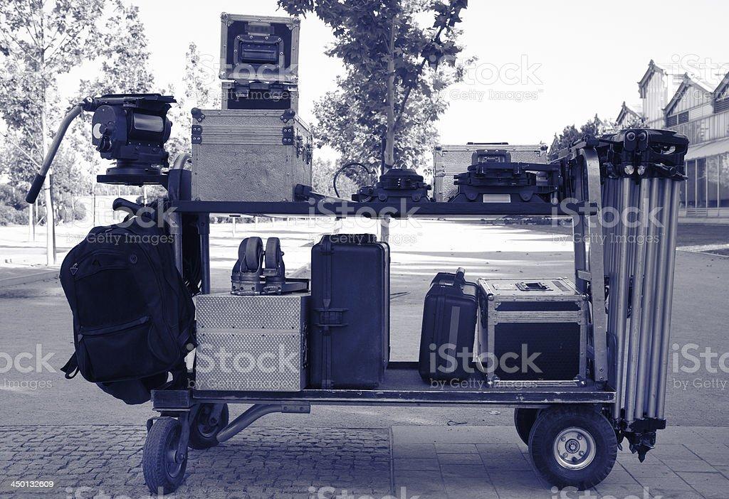 Cinema equipment transport stock photo
