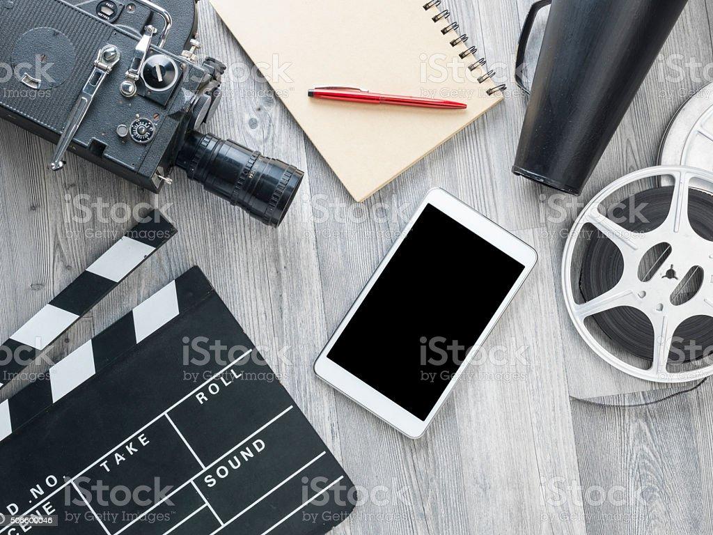 Cinema Film Production Equipments On Floor stock photo