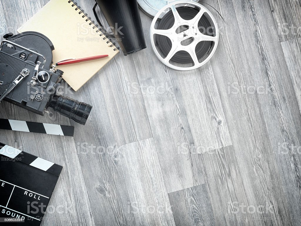 Cinema Film Production Equipments On Floor stock photo