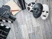 Cinema Film Production Equipments On Floor