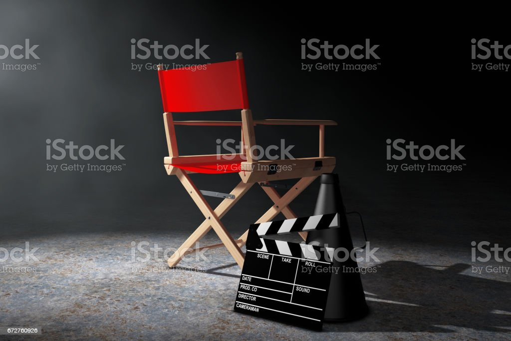 Cinema Industry Concept. Red Director Chair, Movie Clapper and...