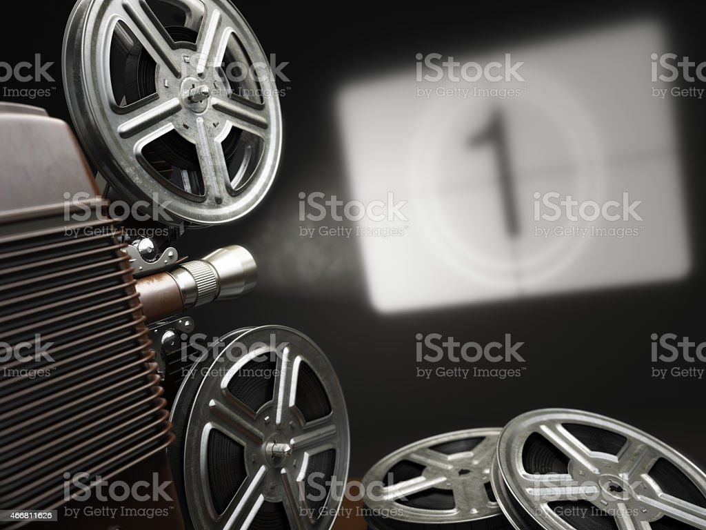 Cinema, movie or video concept. Vintage projector stock photo