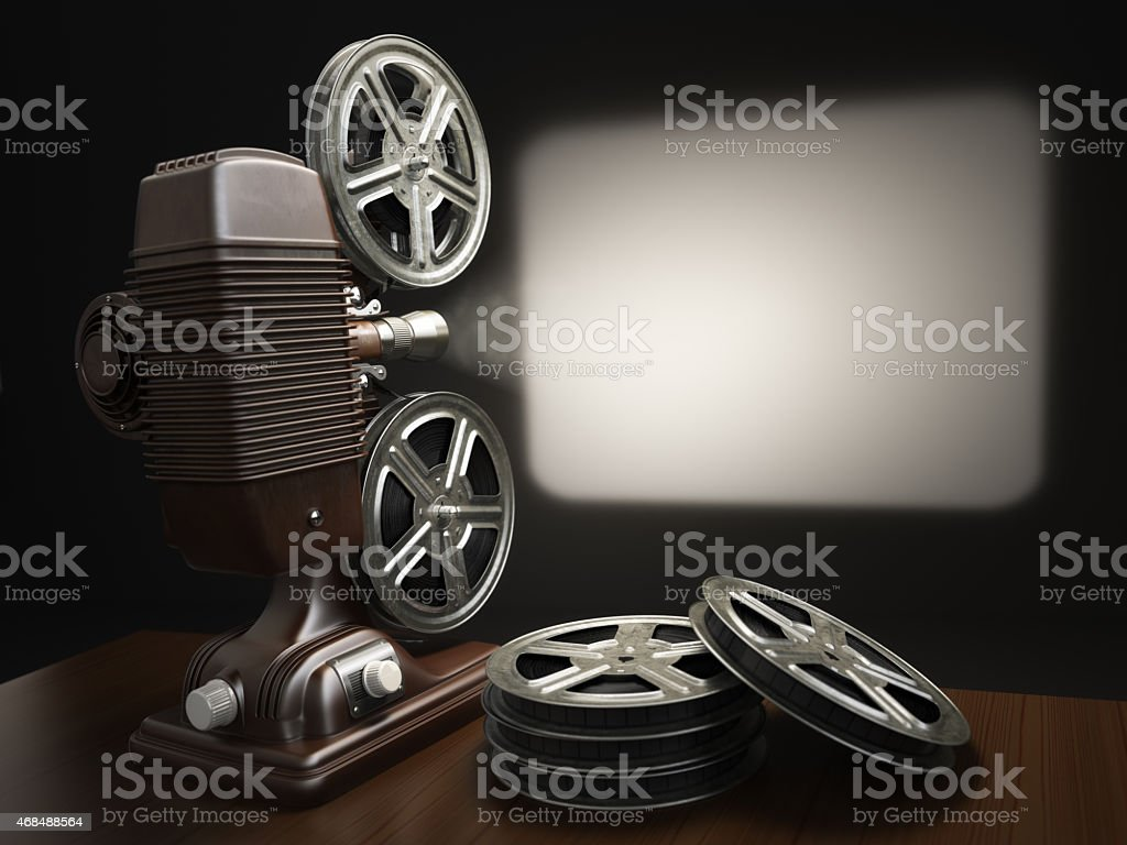 Cinema, movie or video concept. Vintage projector with projectin stock photo