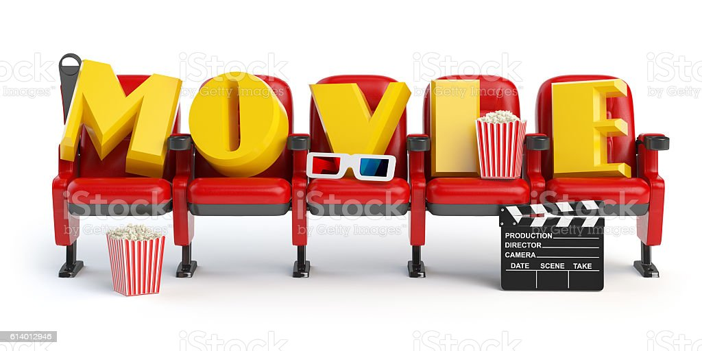 Cinema, movie video concept. Row of seats with popcorm, glasses stock photo