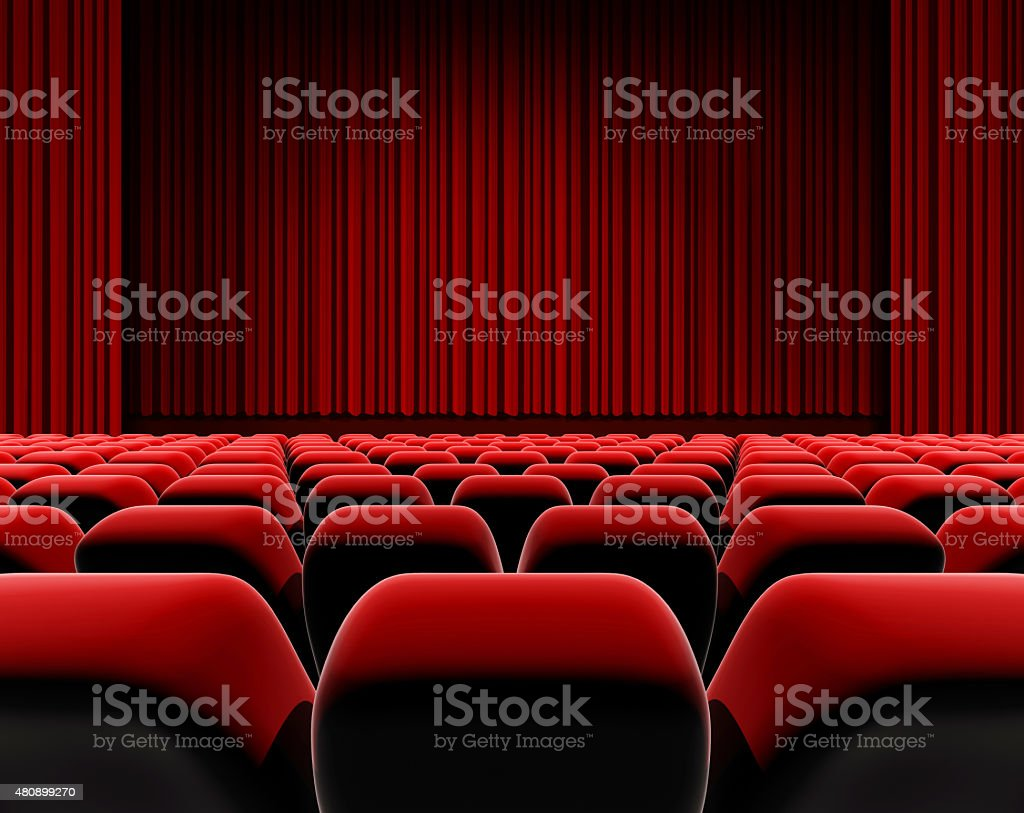 Cinema or theater screen seats. stock photo