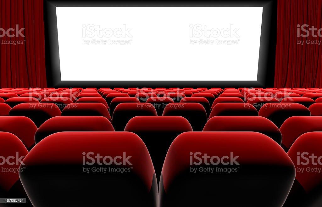 Cinema or theater screen seats. stock photo