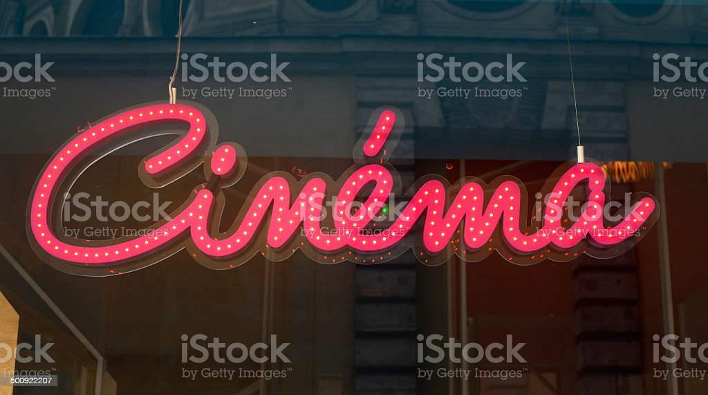 Cinema red sign stock photo