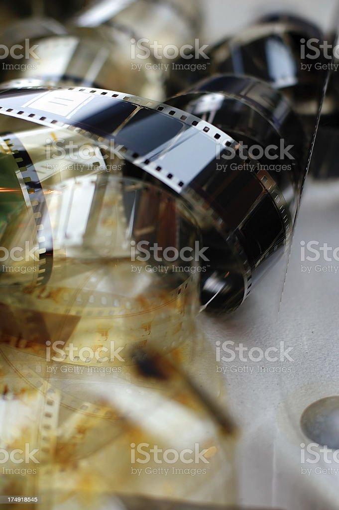 Cinema reels on grey background stock photo