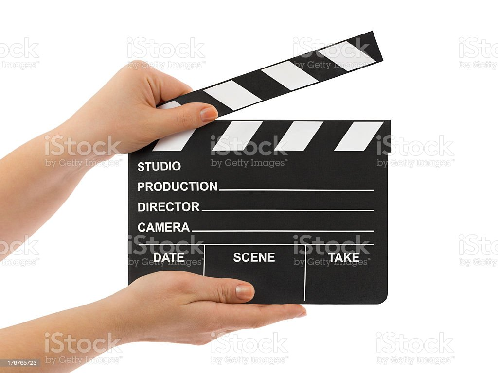 Cinema scene and action clapboard being held by two hands stock photo