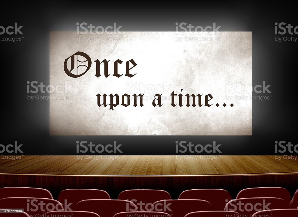 Cinema screen with once upon a time stock photo