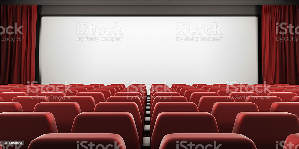 Cinema screen with red seats and open curtain. 3d. stock photo