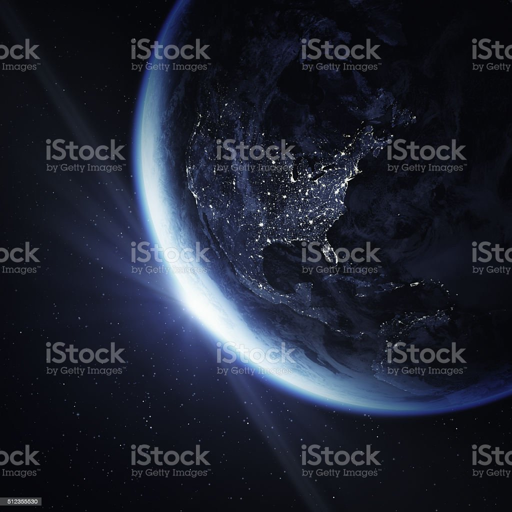 Cinematic crescent Earth viewing from space with sun flare.