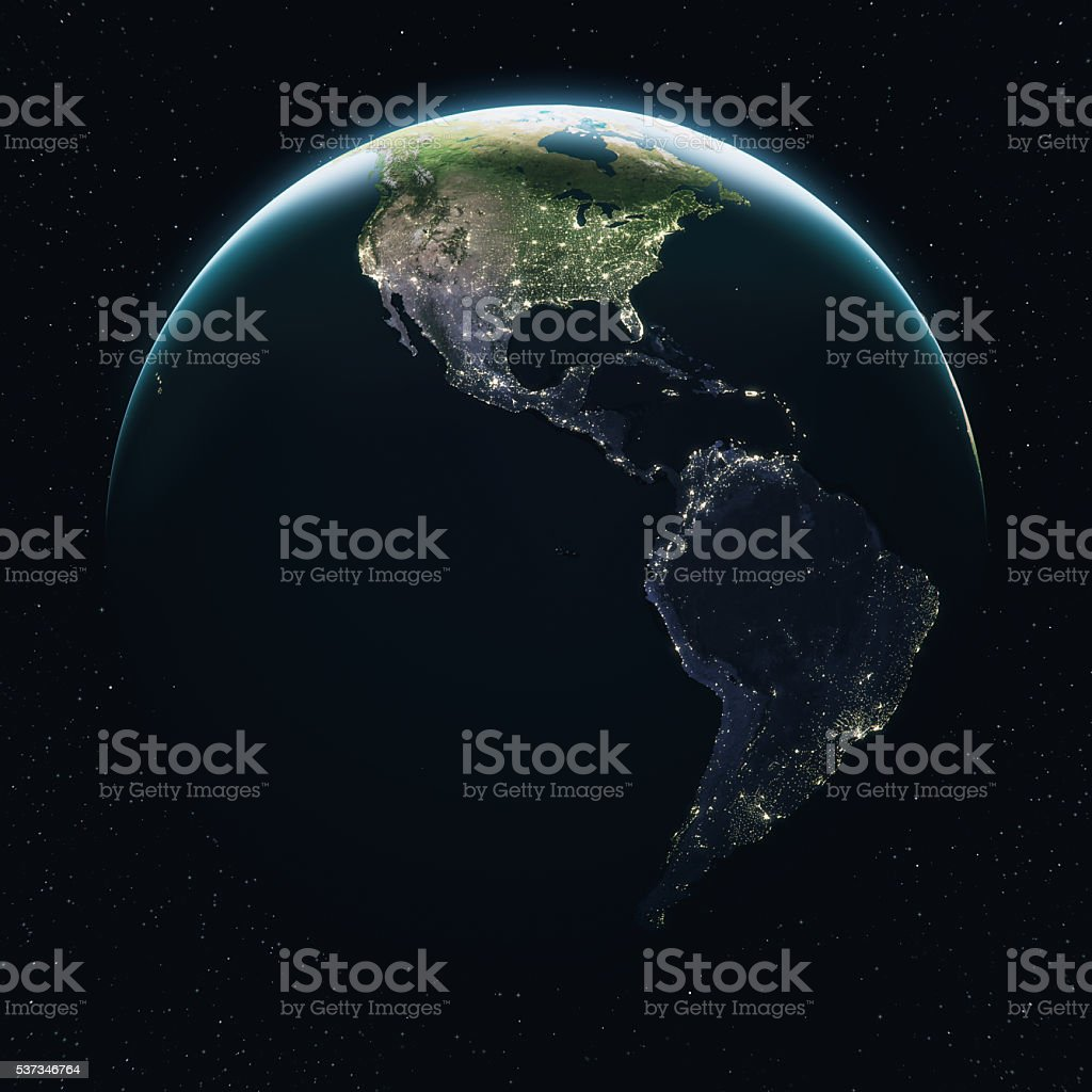 Cinematic Earth View From Space At Daytime stock photo