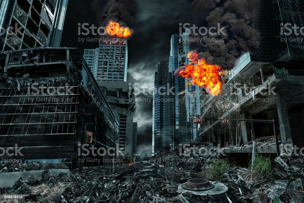 Cinematic Portrayal of Destroyed City stock photo