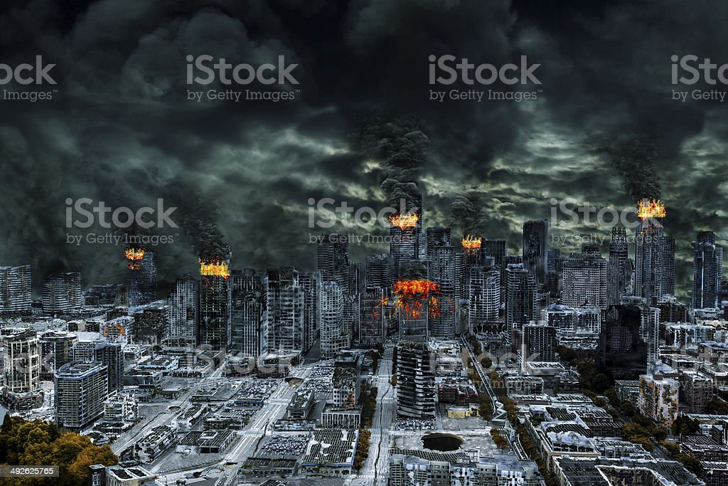 Cinematic Portrayal of Destroyed City With Copy Space stock photo