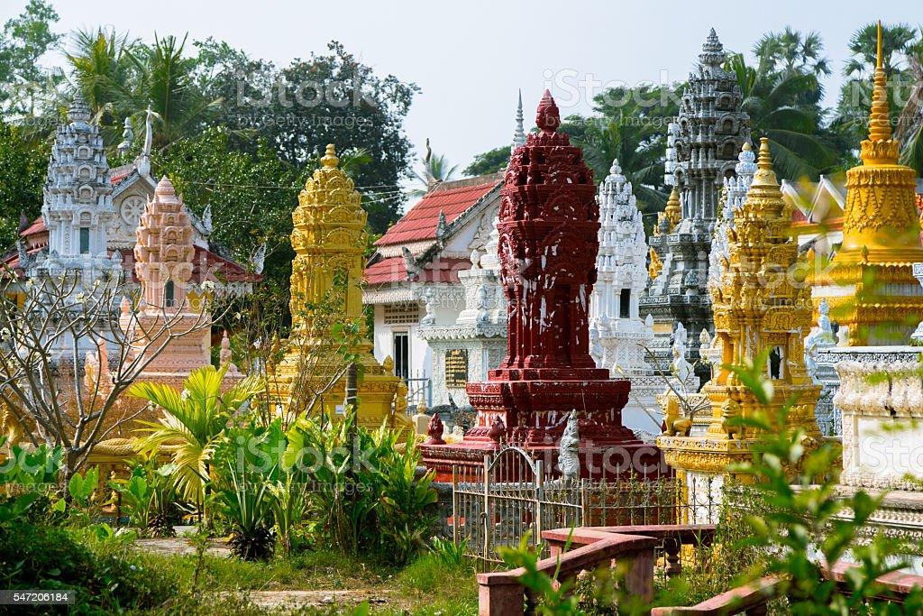 Cinerary urns in Battambang stock photo