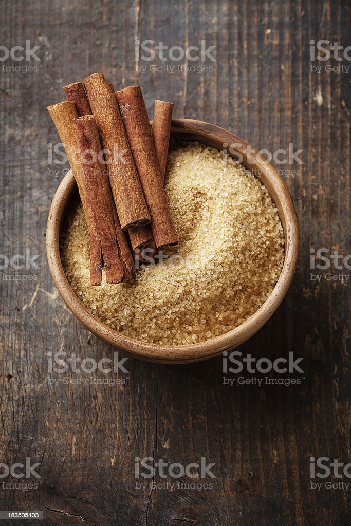 Cinnamon and cane sugar stock photo