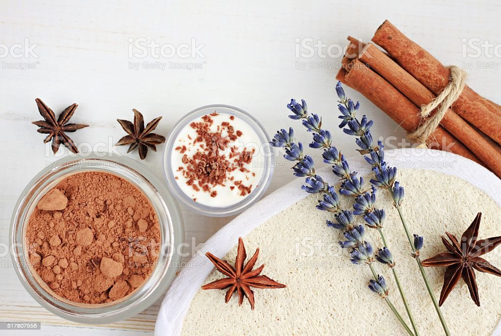 Cinnamon and cocoa powder skin remedy. stock photo