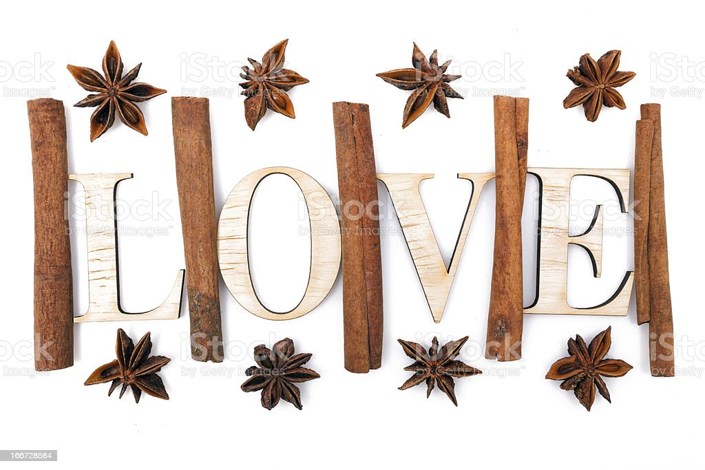 Cinnamon and star anise are in love royalty-free stock photo