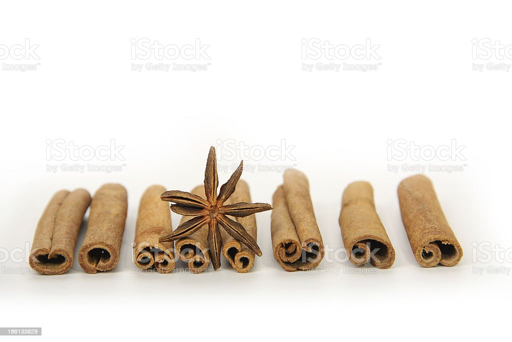 cinnamon and star anise, isolated on white royalty-free stock photo