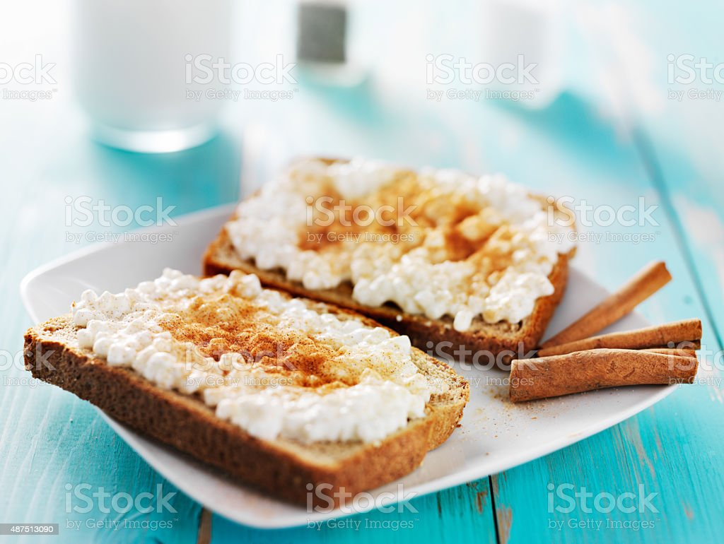 cinnamon and sugar toast with cottage cheese stock photo