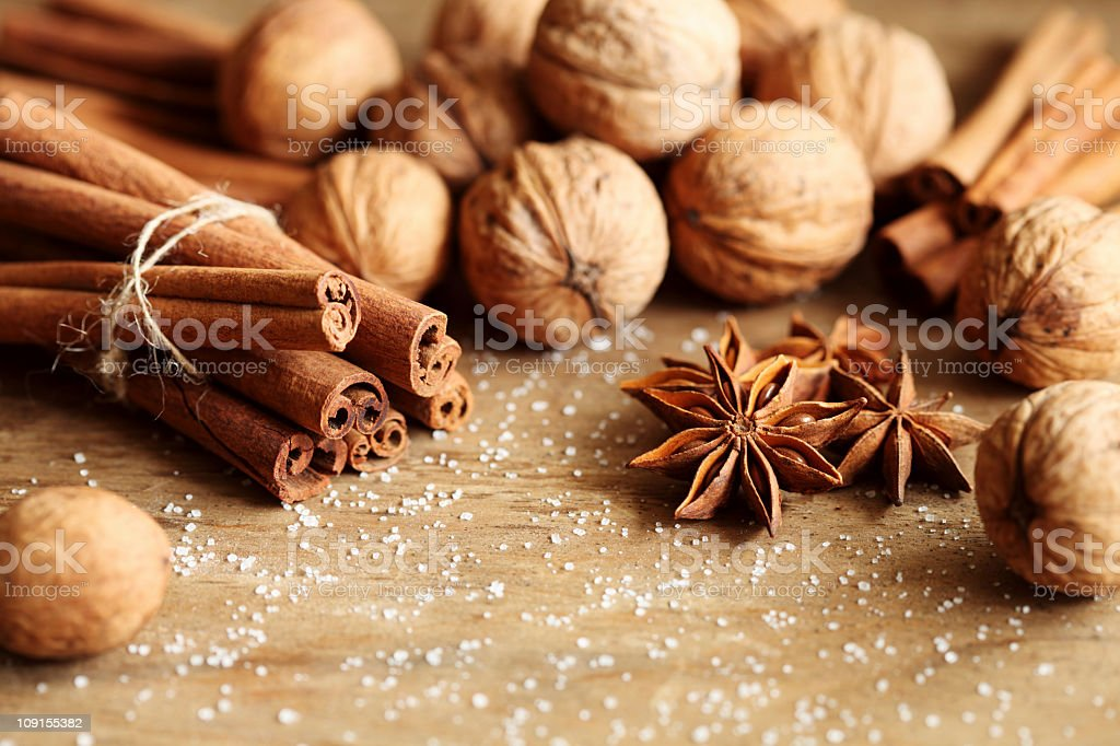 Cinnamon and walnut royalty-free stock photo