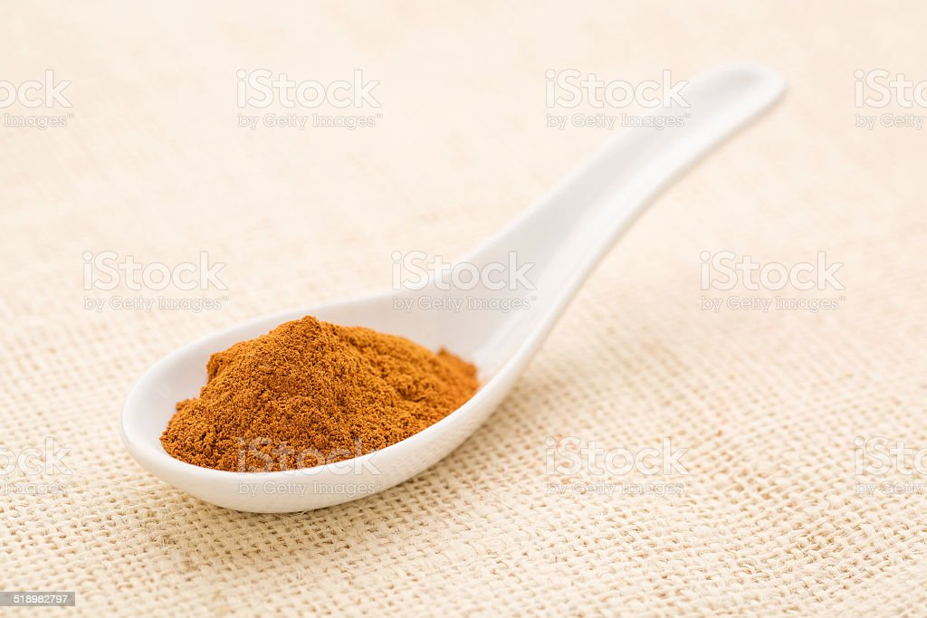 cinnamon (cassia) bark powder stock photo