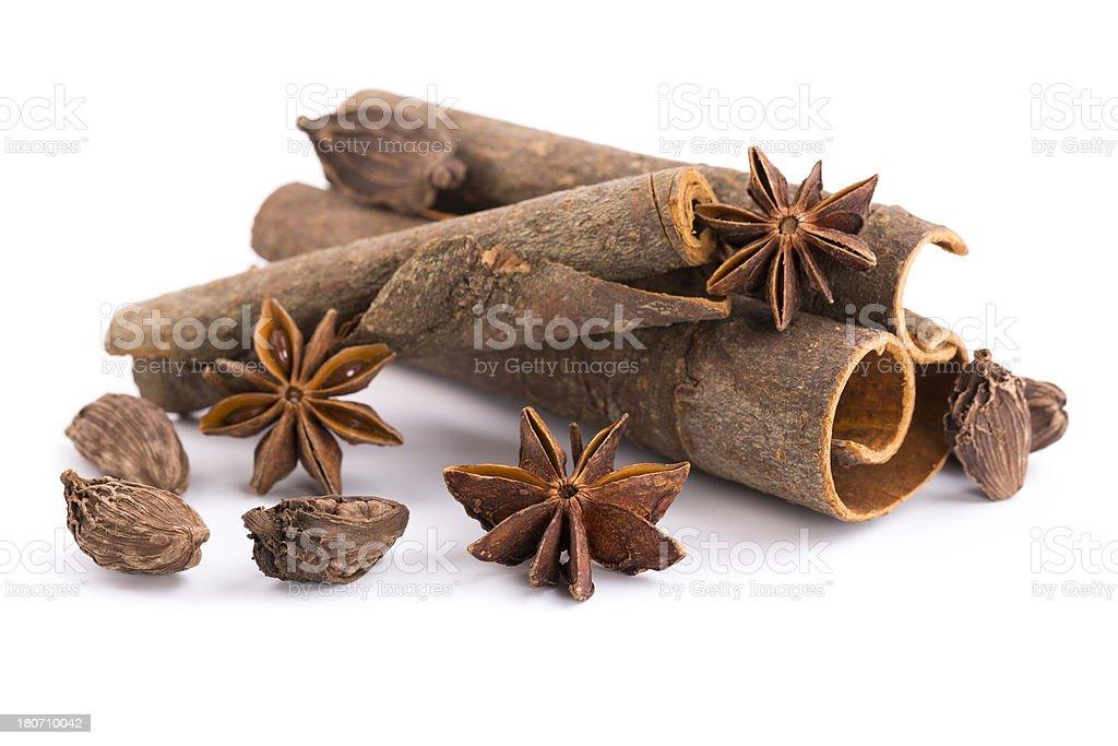 cinnamon,  black cardamom and anise royalty-free stock photo