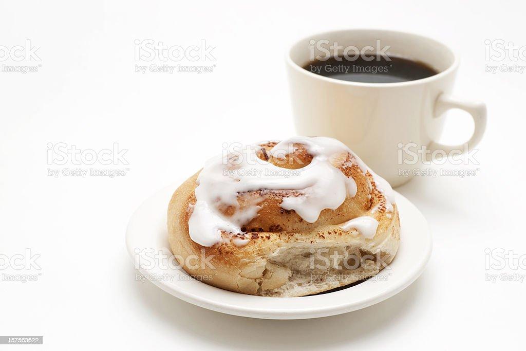 cinnamon bun and coffee stock photo