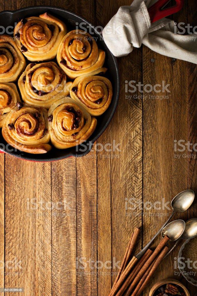 Cinnamon buns with chocolate stock photo