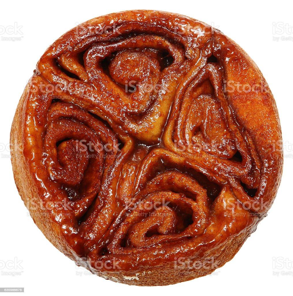 Cinnamon Buns with Sugar Glaze Icing Over White stock photo