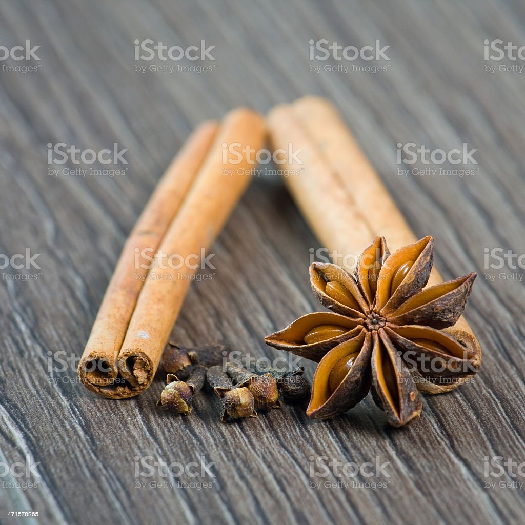 cinnamon, cloves and anise royalty-free stock photo