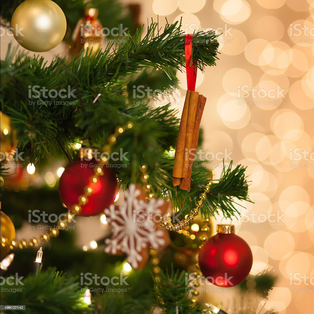 Cinnamon decoration. Christmas decoration on christmas tree. stock photo
