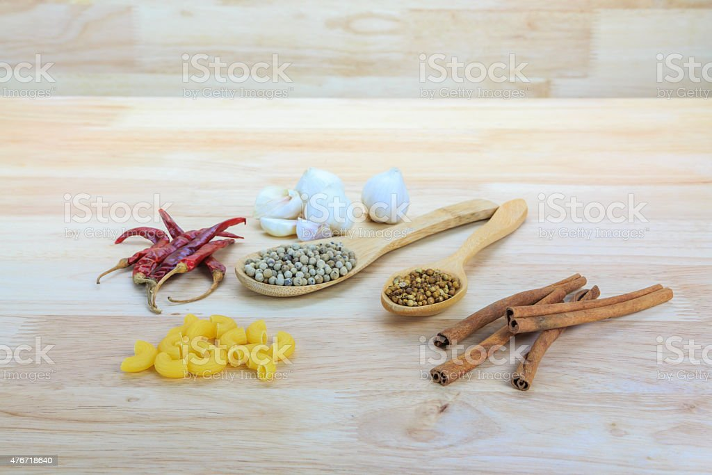Cinnamon, Dried peppers, Coriander seeds, white pepper, Macaroni Pasta royalty-free stock photo