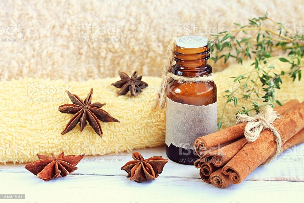 Cinnamon essential oil. stock photo