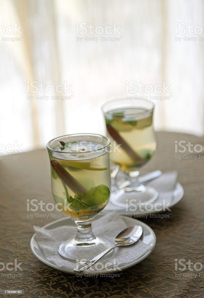 Cinnamon, mint and honey tea royalty-free stock photo