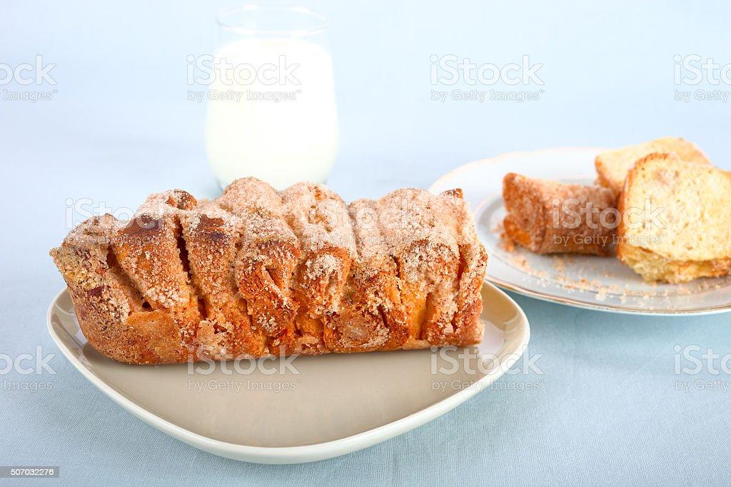 Cinnamon pull apart bread stock photo